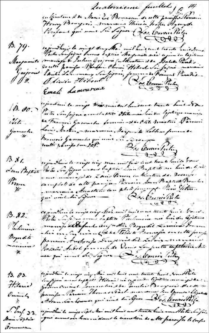The Birth and Baptismal Record of Osite Gamache - 1838