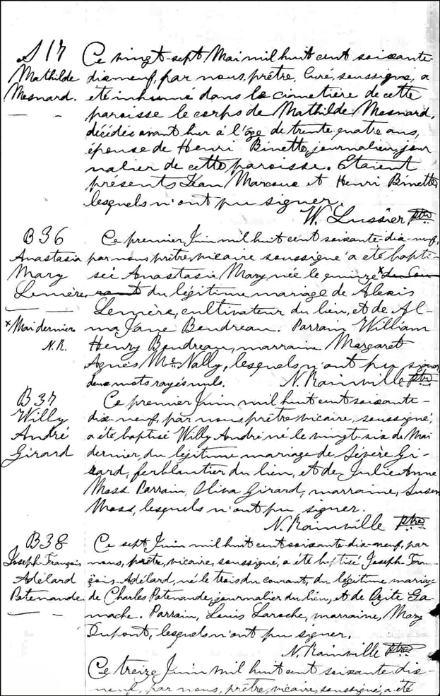 Birth and Baptismal Record for Joseph Francois Adelard Patenaude
