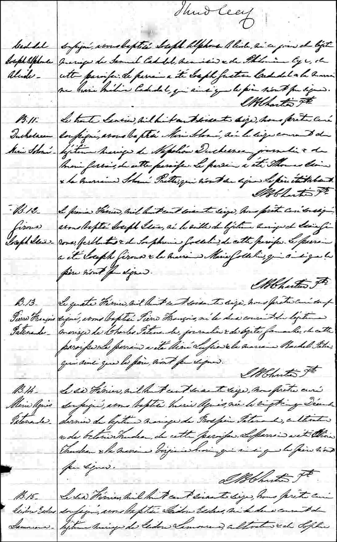 Birth and Baptismal Record of Pierre Francois Patenaude - 1876