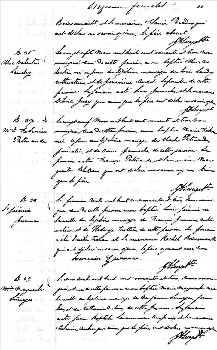 The Birth and Baptismal Record of Marie Febronie Patenaude - 1863