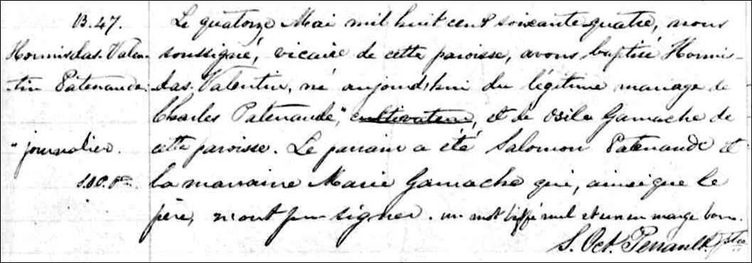 Church Copy of the Birth and Baptismal Record of Hormisdas Valentin Patenaude - 1864