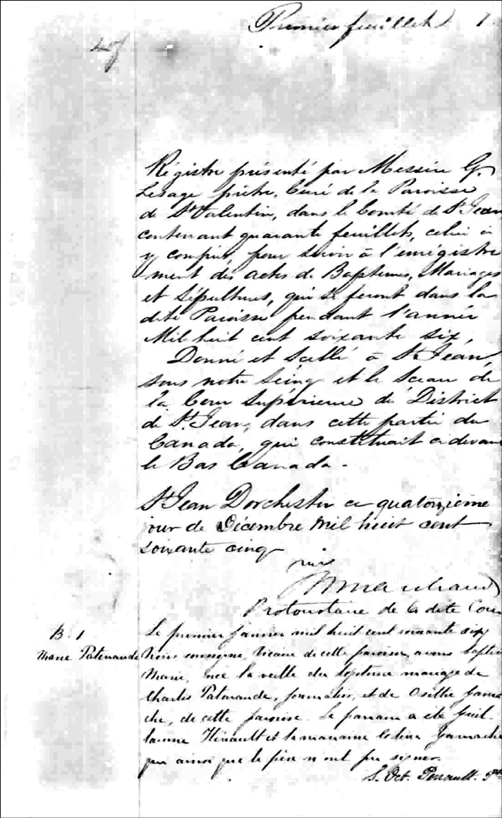 the Birth and Baptismal Record of Marie Patenaude - 1866