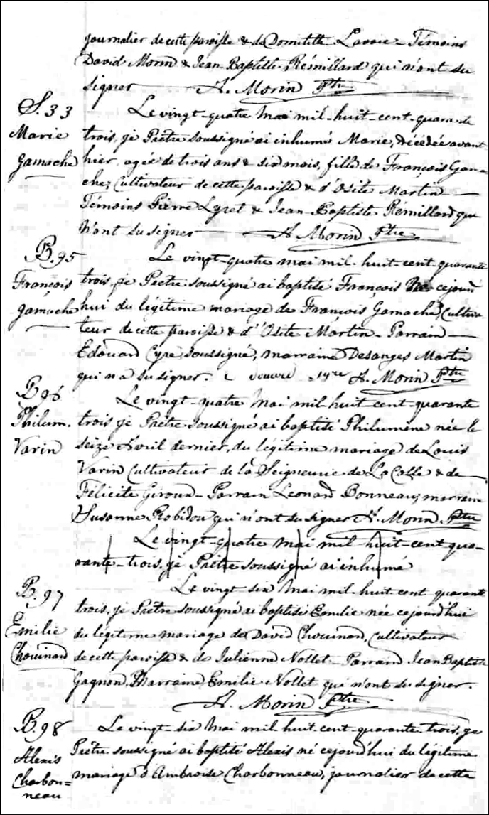The Birth and Baptismal Record of Marie Gamache - 1843