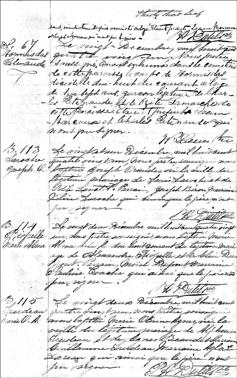 The Death Record of Hormisdas Patenaude - 1881