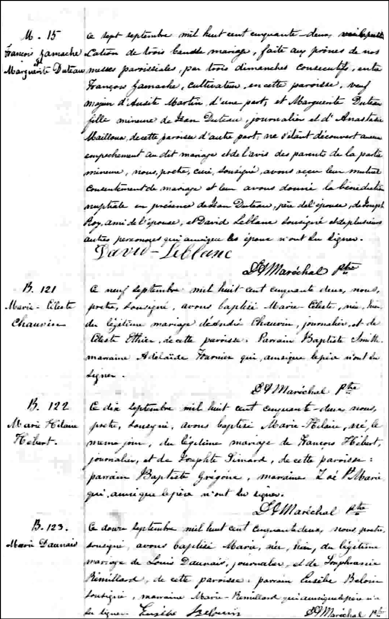 The Marriage Record of Francois Gamache and Marguerite Duteau - 1852