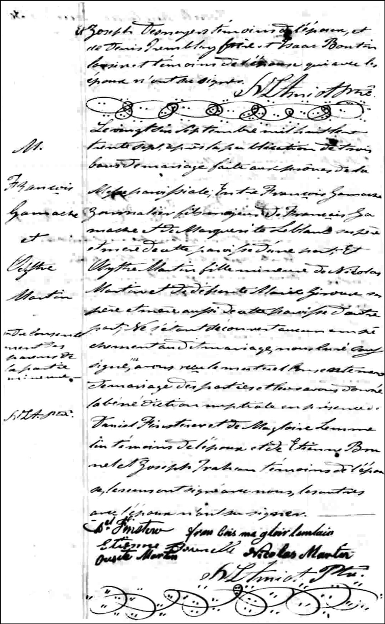 The Marriage Record of Francois Gamache and Osythe Martin - 1837