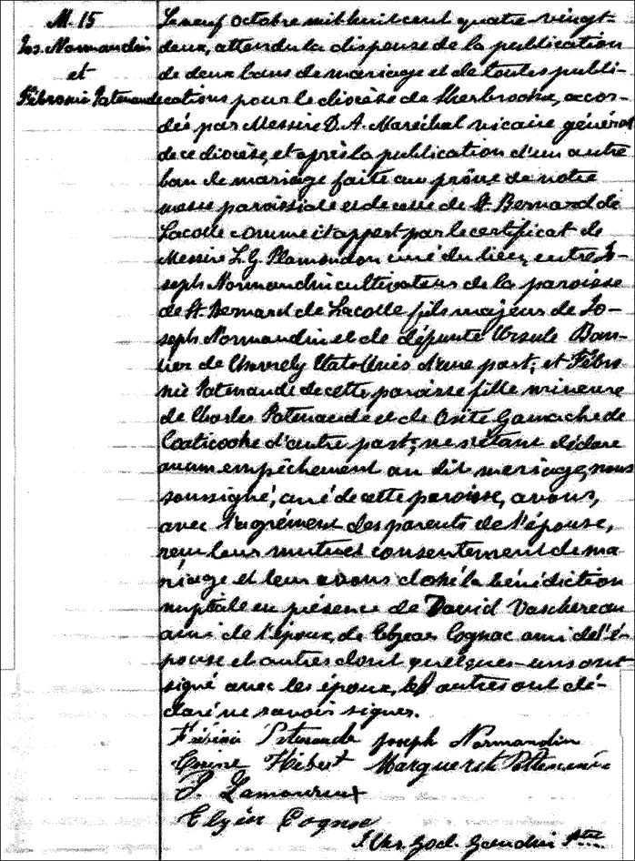The Marriage Record of Joseph Normandin and Febronie Patenaude - 1882