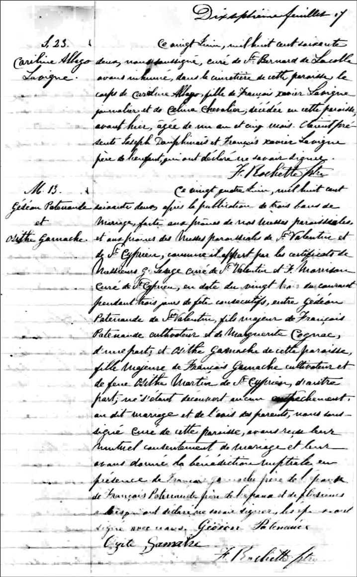 The Marriage Record of Gedeon Patenaude and Osithe Gamache - 1862