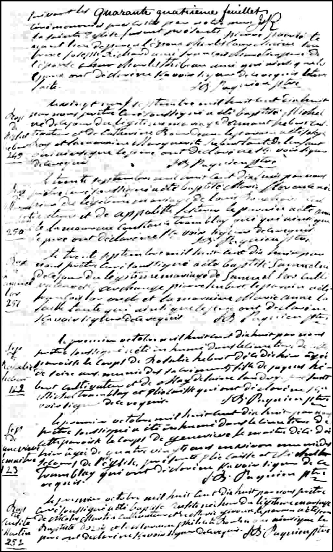 The Birth and Baptismal Record of Ausite Martin -1818