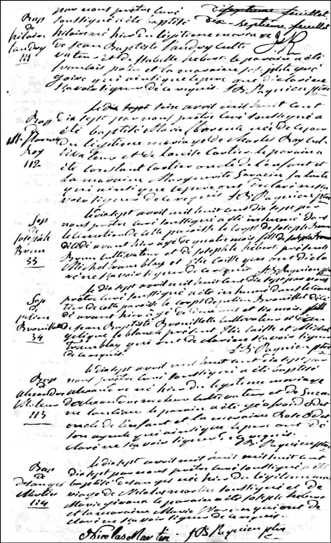 The Birth and Baptismal Record of Désanges Martin - 1817