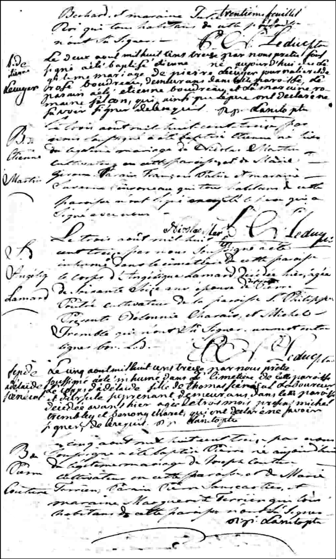 The Birth and Baptismal Record of Etienne Martin - 1813