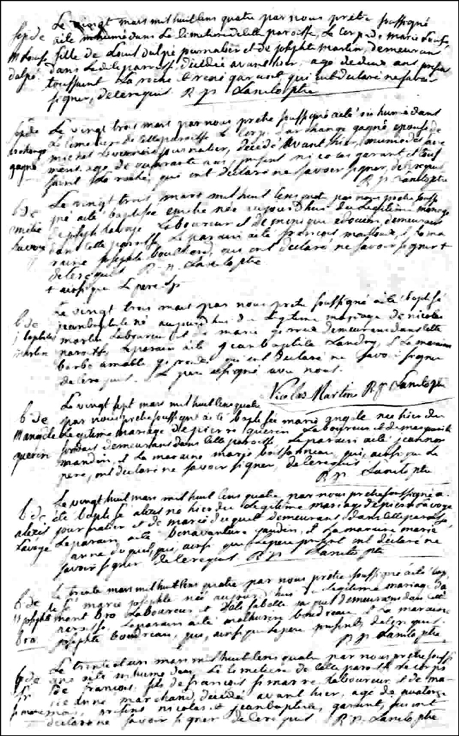 The Birth and Baptismal Record of Jean Baptiste Martin - 1804