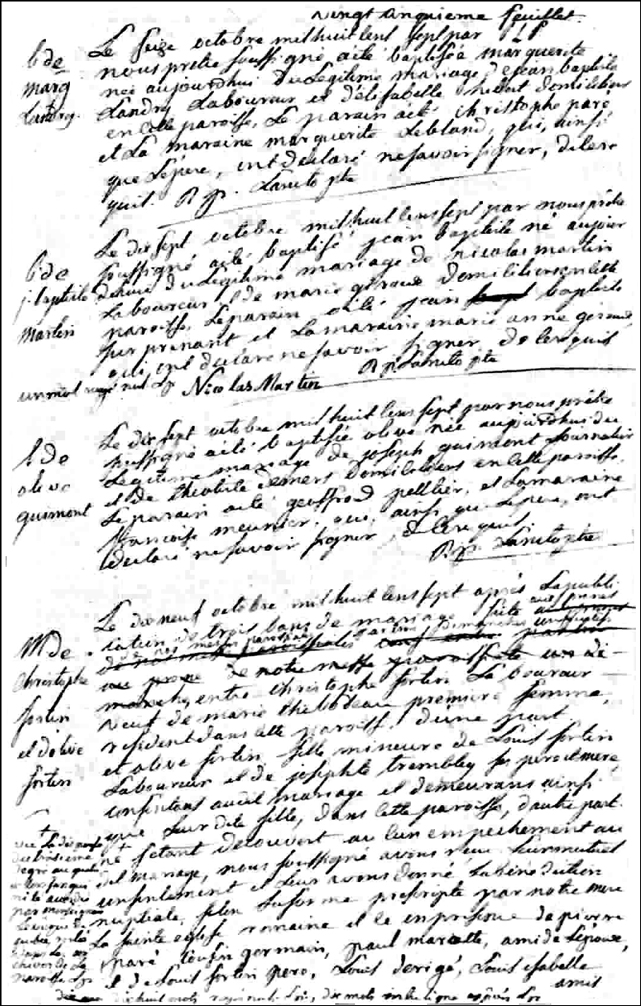 Birth and Baptismal Record of Jean Baptiste Martin - 1807