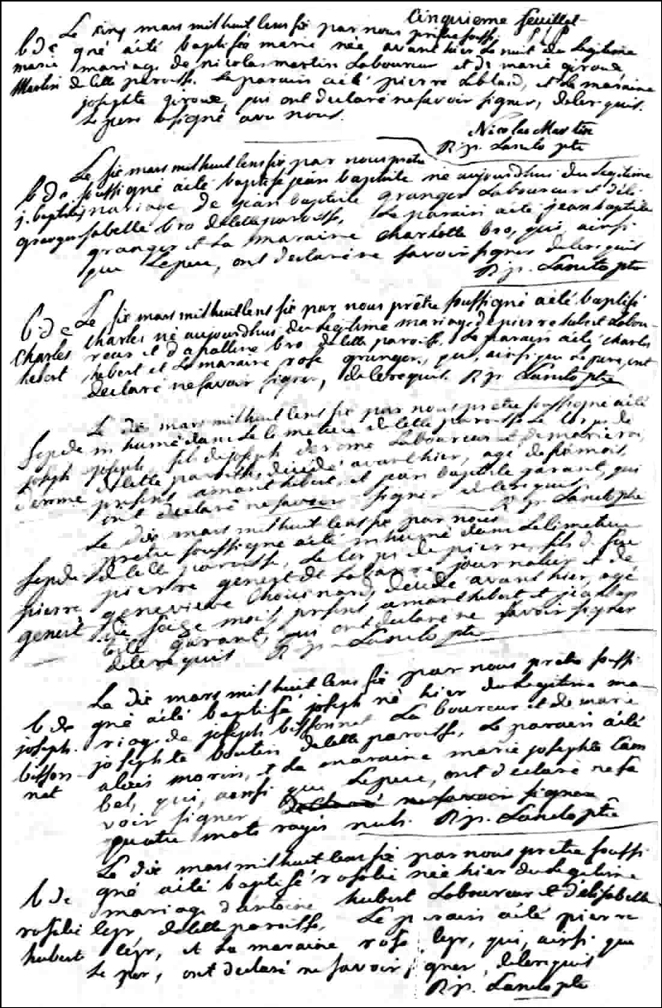 Birth and Baptismal Record of Marie Martin - 1806