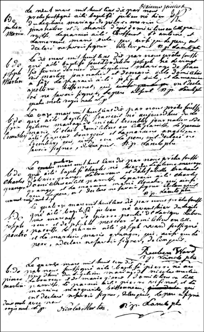 The Birth and Baptismal Record of Pierre Martin - 1810