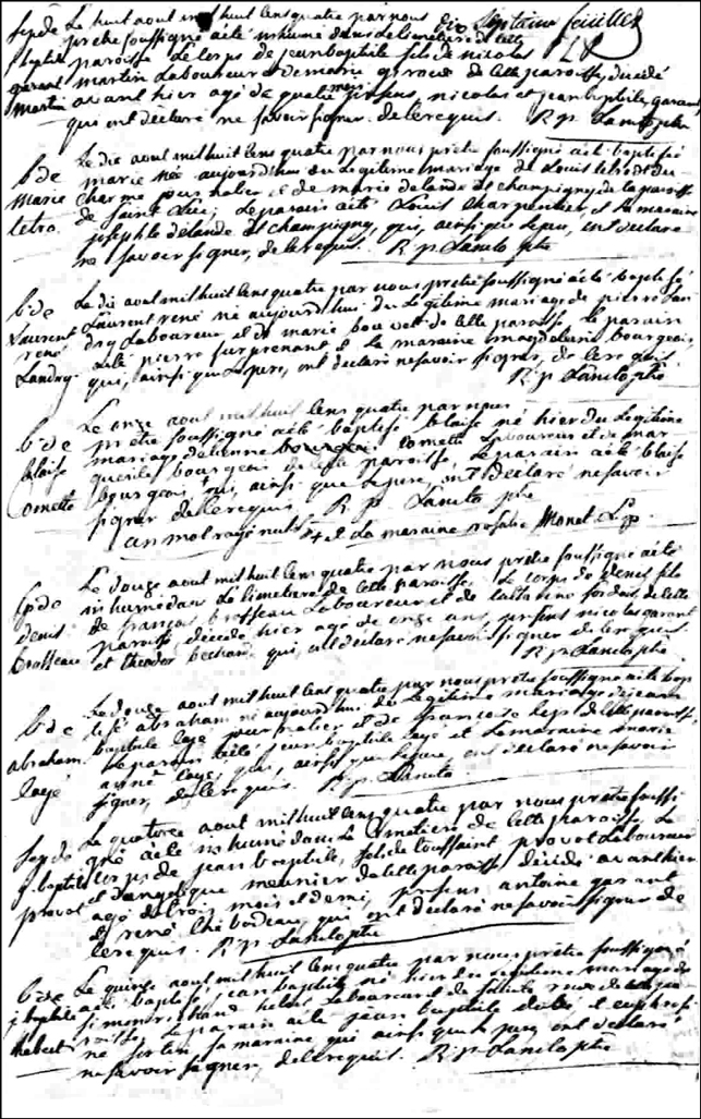 The Death and Burial Record of Jean Baptiste Martin - 1804