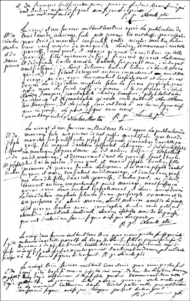 The Marriage Record of Nicolas Martin and Marie Giroux - 1803