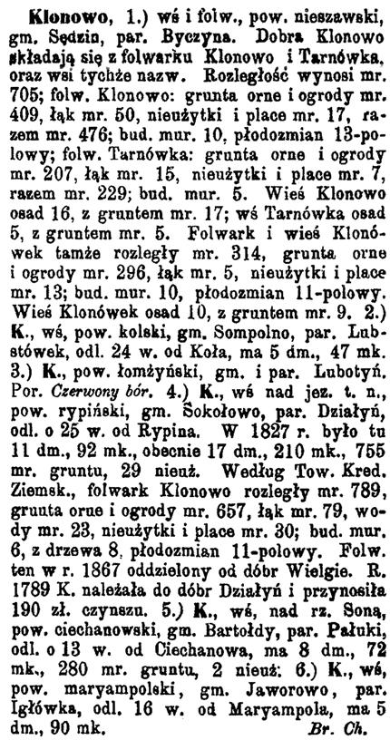 Slownik Geograficzny entry for Klonowo