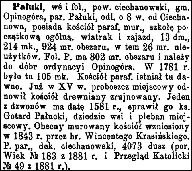Slownik Geograficzny Entry for Paluki