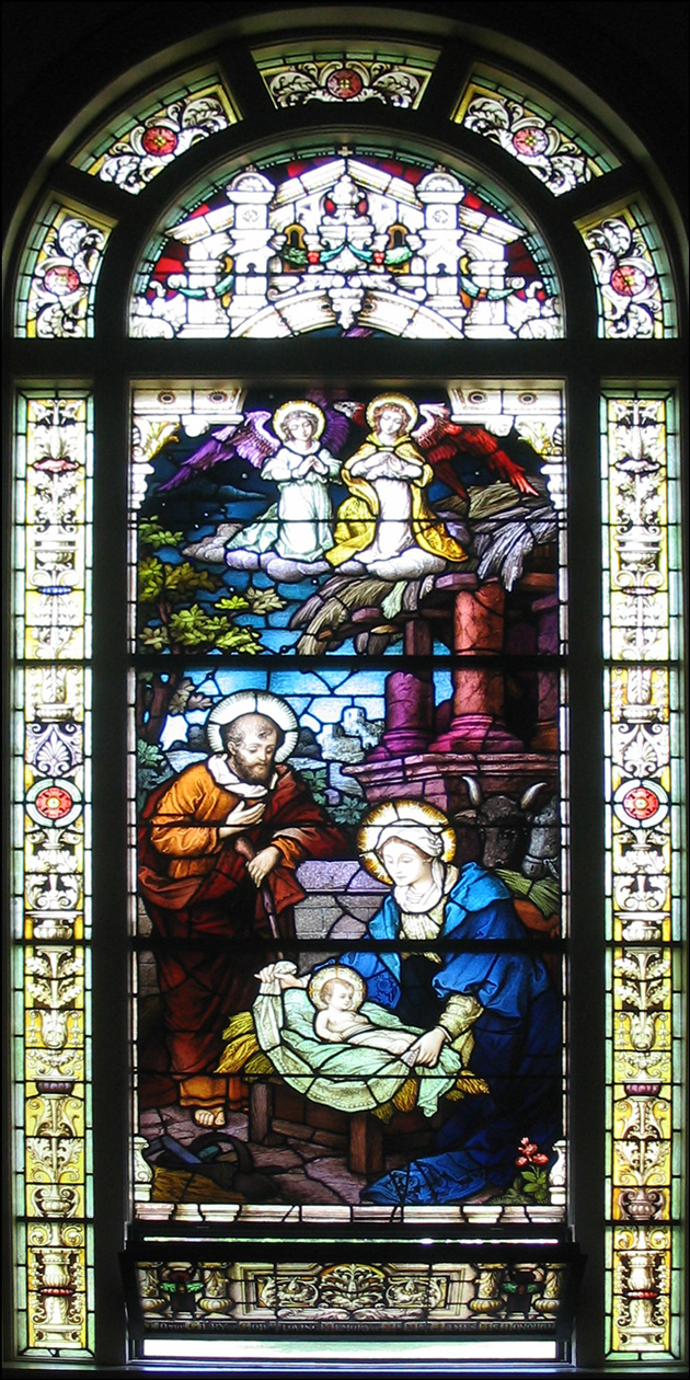 The Nativity - Stained Glass Window in the Church of St. Vincent de Paul, Albany, New York