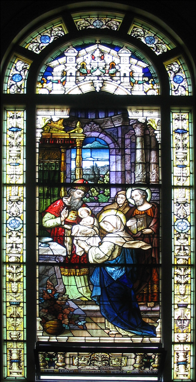 The Presentation of Jesus at the Temple - Stained Glass Window at the Church of St. Vincent de Paul - Albany, New York