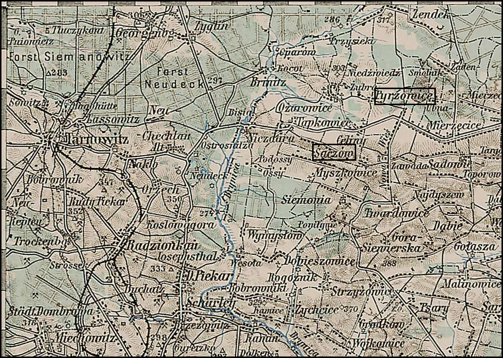Map of Pyrzowice Poland and Vicinity