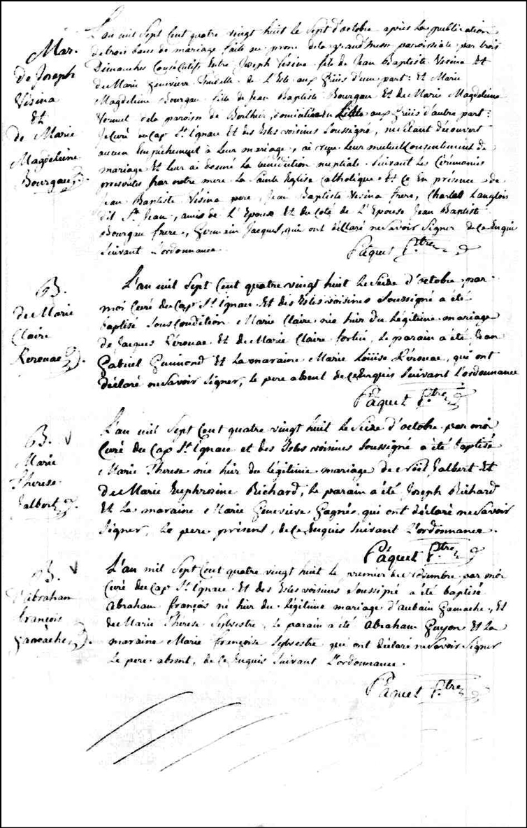 Birth and Baptismal Record of Abraham Francois Gamache - 1788