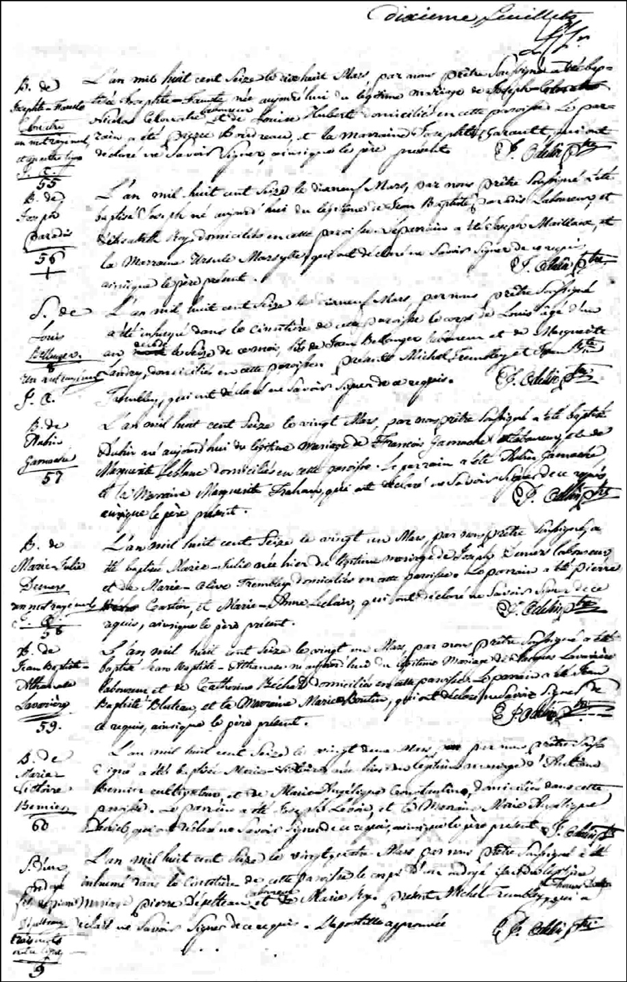 The Birth and Baptismal Record of Aubin Gamache - 1816