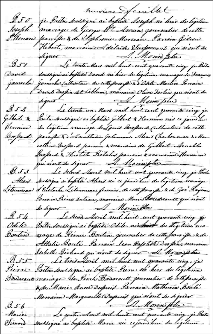 The Birth and Baptismal Record of David Gamache - 1845