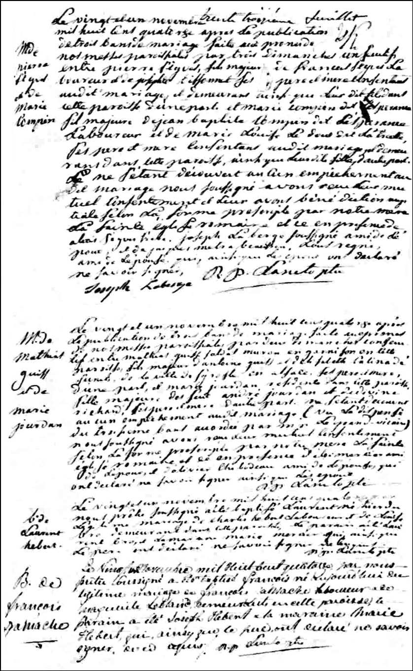The Birth and Baptismal Record of Francois Gamache - 1814