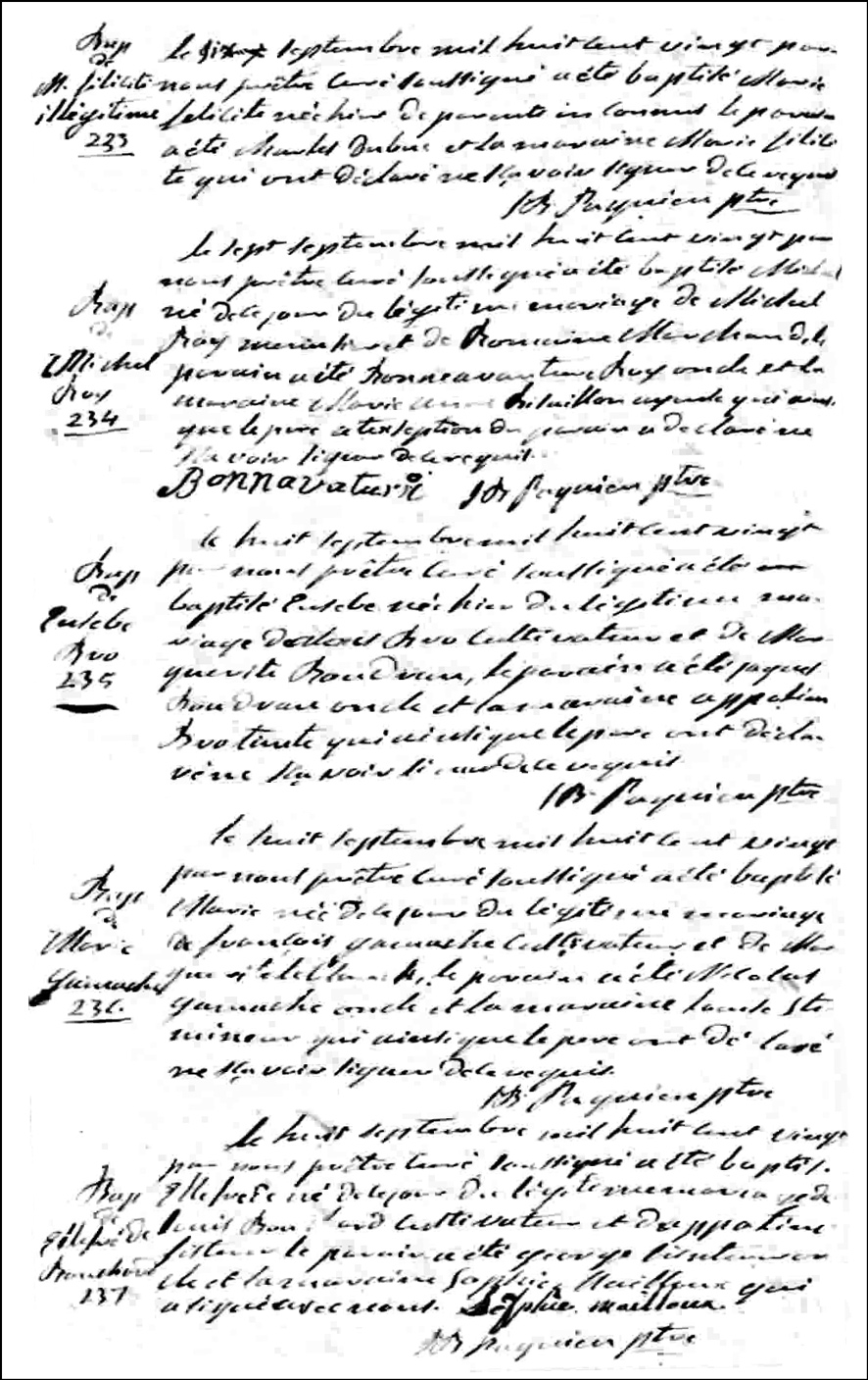 Birth and Baptismal Record of Marie Gamache - 1920