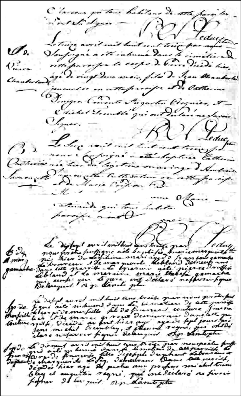 Birth and Baptismal Record of Marie Marguerite Gamache - 1813