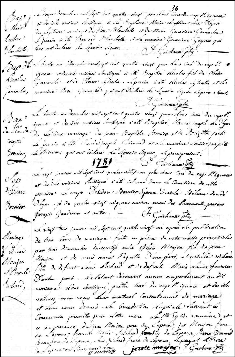 Birth and Baptismal Record of Nicolas Gamache - 1780