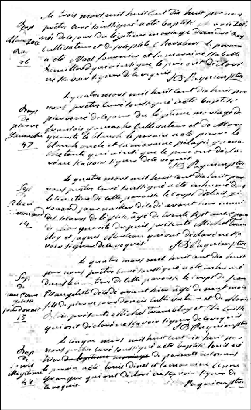 Birth and Baptismal Record of Pierre Gamache - 1818