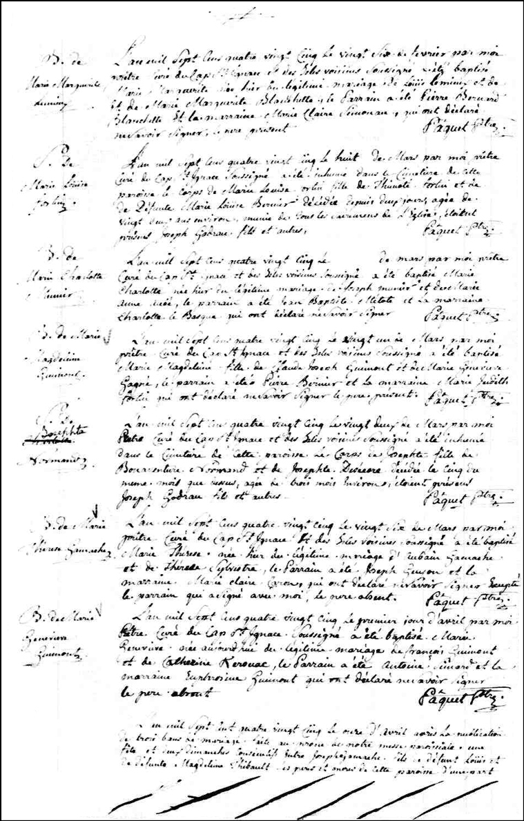 Birth and Baptismal Record of Marie Therese Gamache - 1785