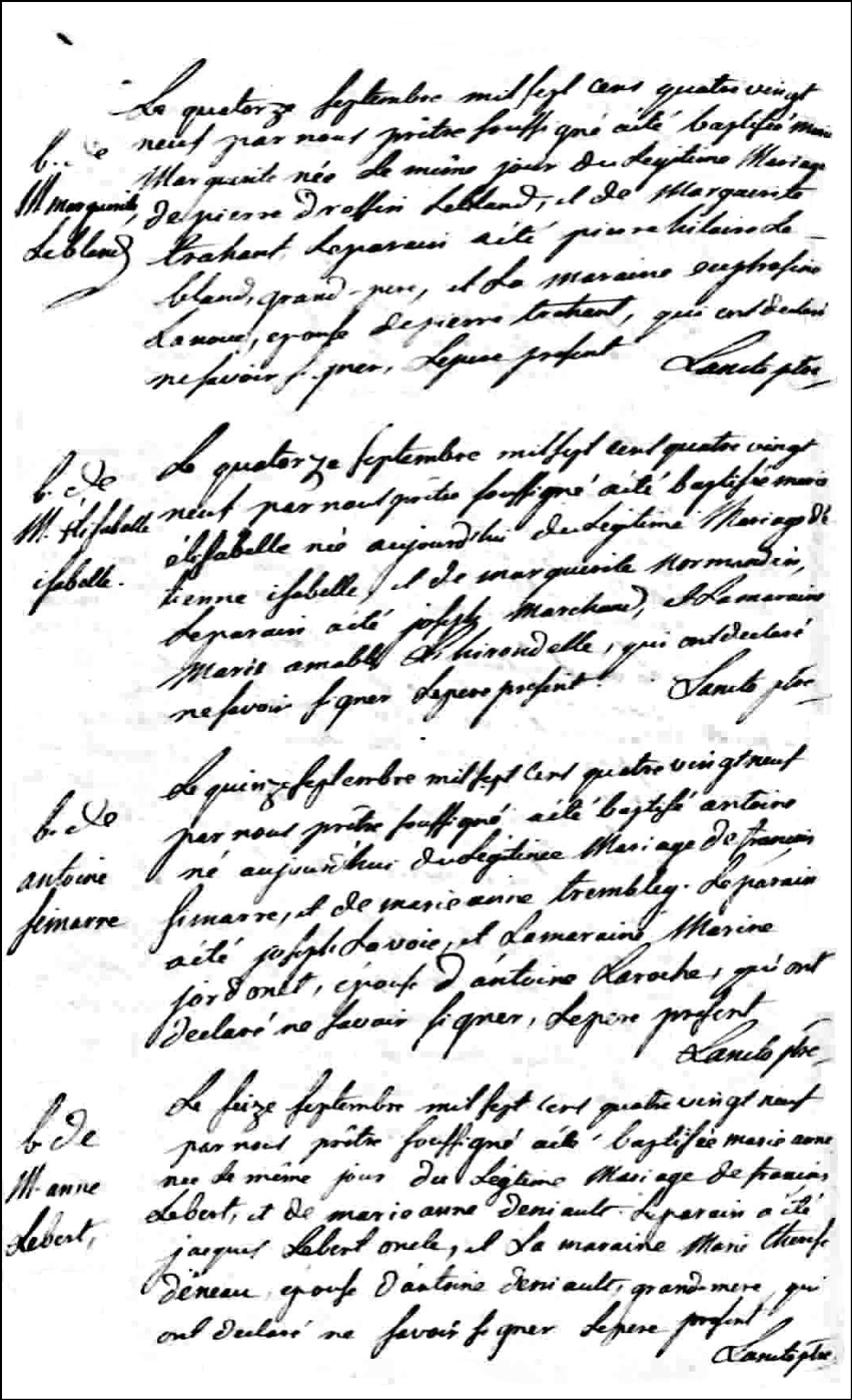 Birth and Baptismal Records of Marie Marguerite Leblanc - 1789