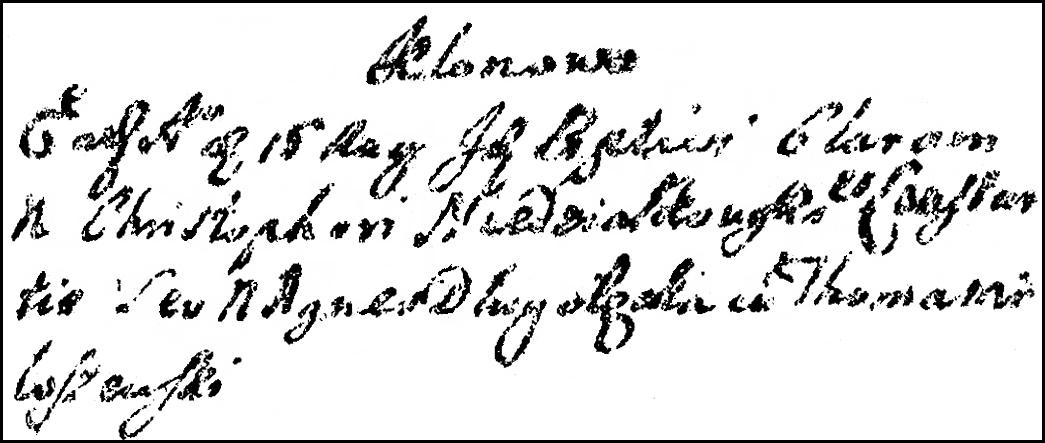 The Birth and Baptismal Record of Klara Niedziałkowska - 1727