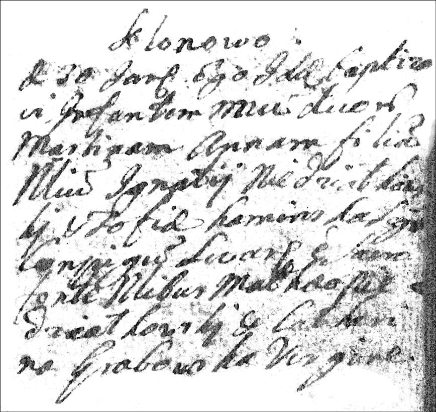 Baptismal Record of Martina Anna Niedzialkowska - 1753