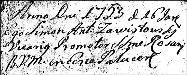 Details for Baptismal Record of Martina Anna Niedzialkowska - 1753