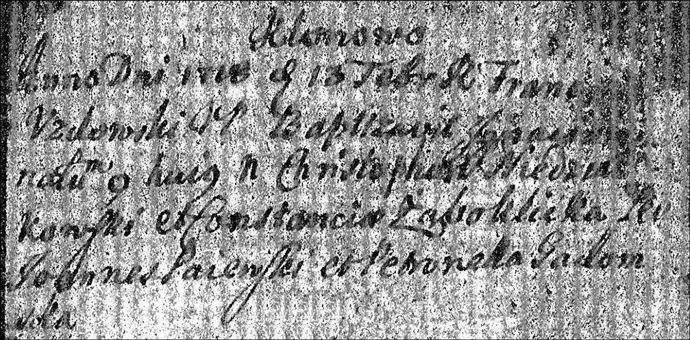 Baptismal Record of Ignace Niedzialkowski - 1718