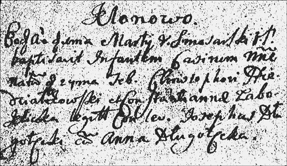 The Baptismal Record of Kazimierz Niedziałkowski - 1722