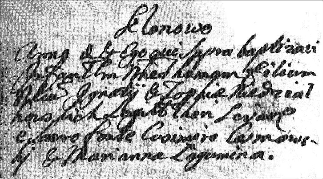 Baptismal Record of Tomasz Niedzialkowski - 1750