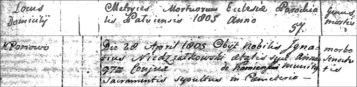 Death and Burial Record of Ignace Niedzialkowski - 1805