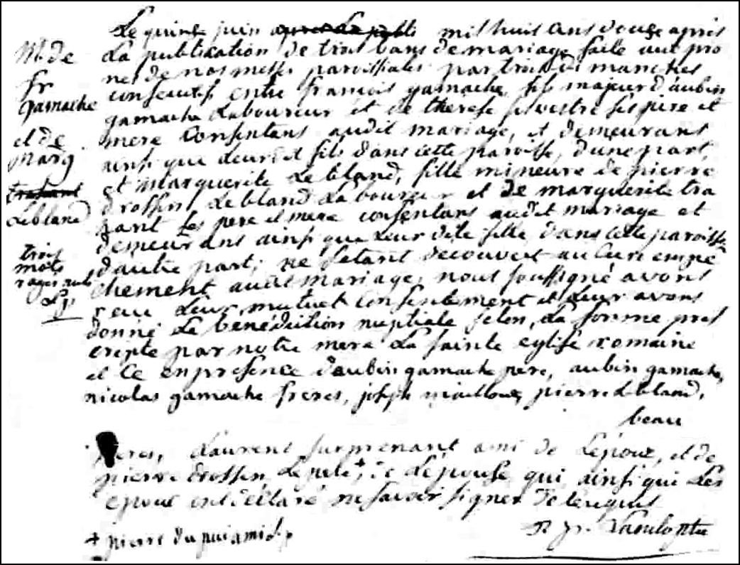 Marriage Record of Francois Gamache and Marguerite Leblanc - 1812