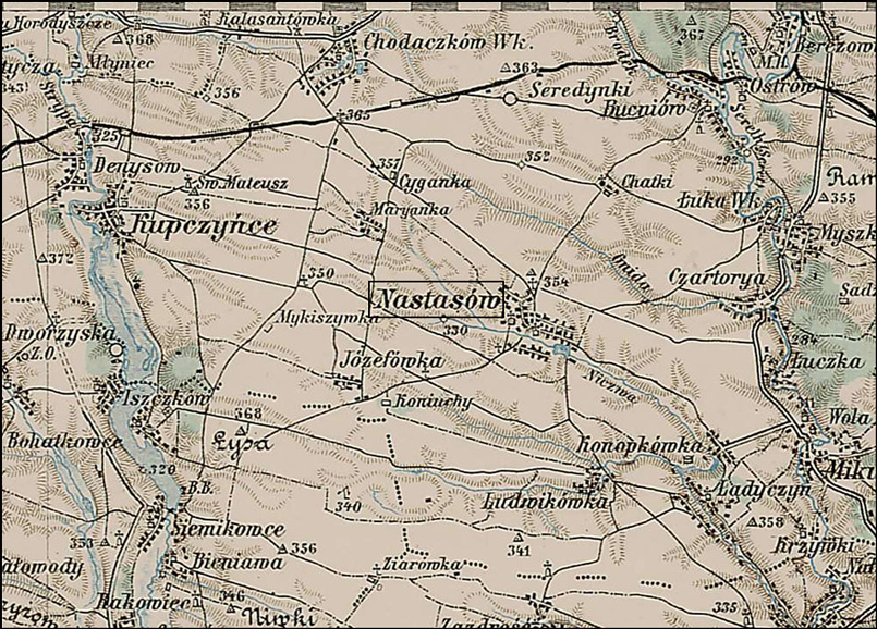Map of Nastasow - Nastasiv