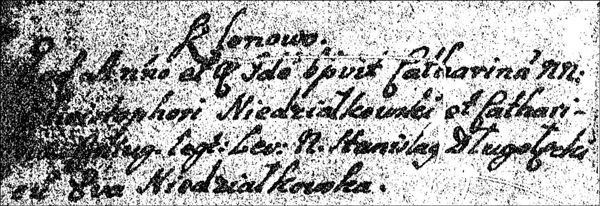 Baptismal Record of Katarzyna Niedzialkowska - 1729
