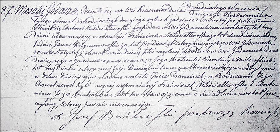 Birth and Baptismal Record of Franciszek Niedzialkowski - 1842