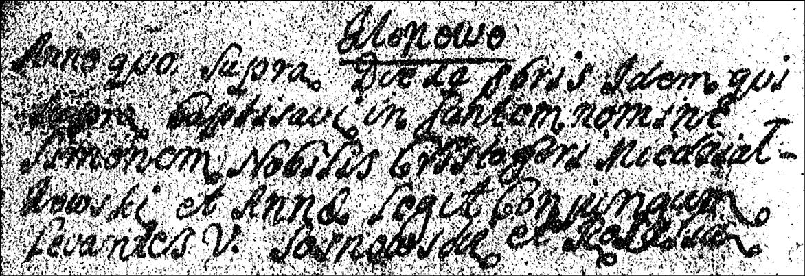 Baptismal Record of Szymon Niedzialkowski - 1731
