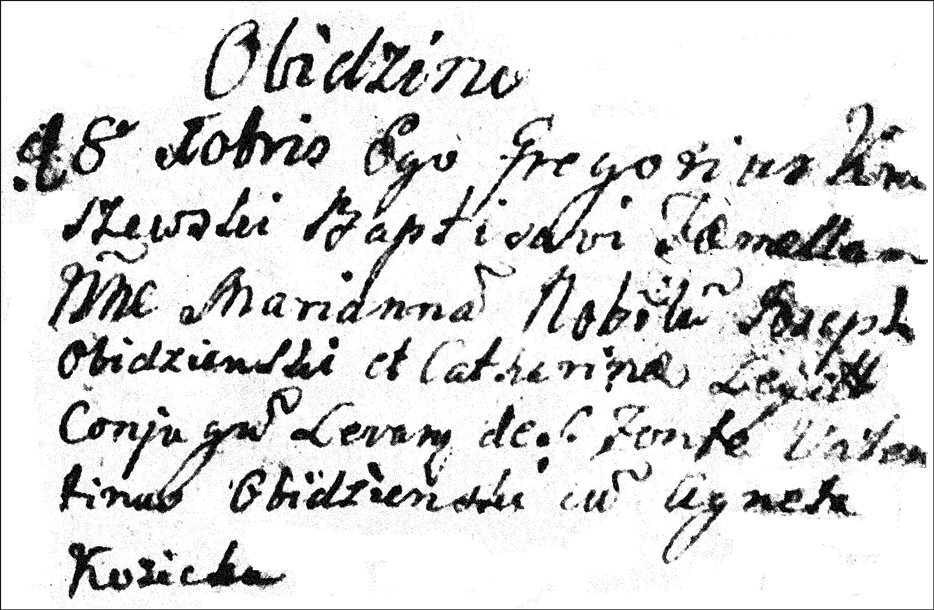 The Baptismal Record of Marianna Obidzienska - 1759