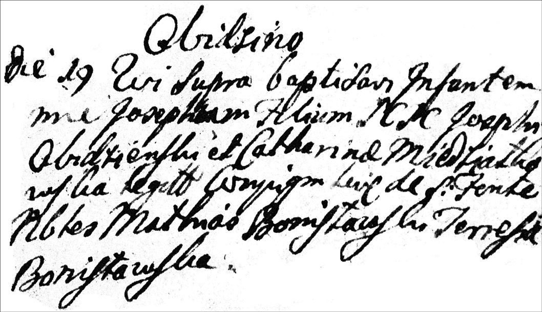 The Baptismal Record of Jozef Obidzienski - 1764